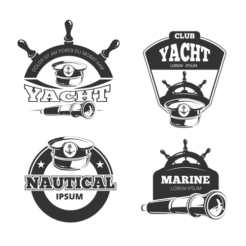 Nautical vector signs labels and badges