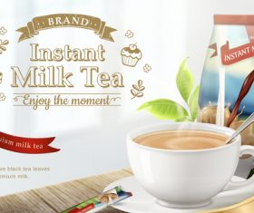 New flavor Instant milk tea flyer vector
