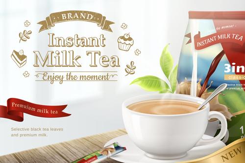 New flavor Instant milk tea flyer vector