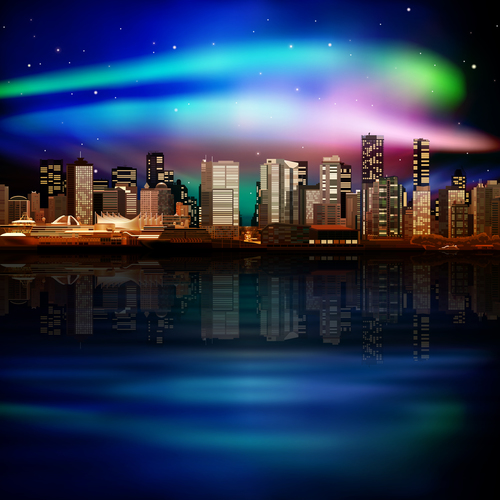 Night illustration with panorama of cityvector