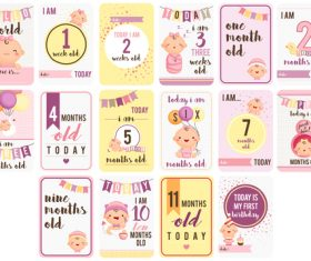 Nine months old baby card vector