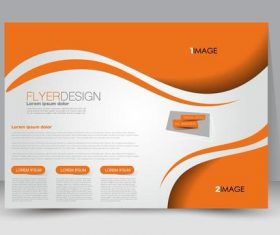 Orange header business ad template vector
