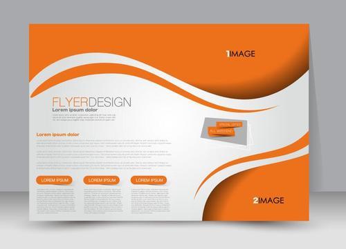Orange header business ad template vector