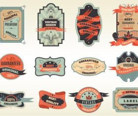 Orange vintage label vector