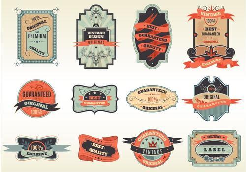 Orange vintage label vector
