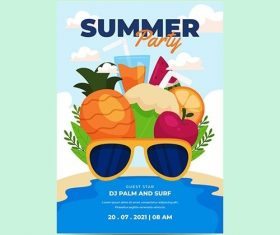 Organic flat summer party vertical poster template vector