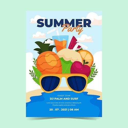 Organic flat summer party vertical poster template vector