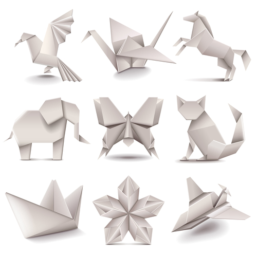 Origami icons vector