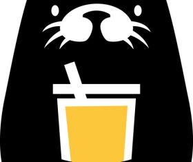 Otter drink logo vector