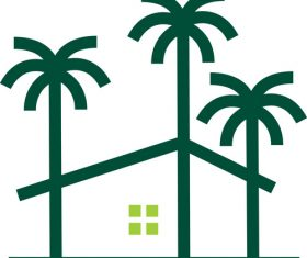 Palm house tree logo vector