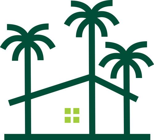 Palm house tree logo vector