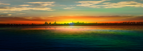Panorama of city and sunrise vector