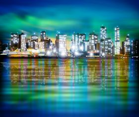 Panorama vector of sky background with illuminated city night