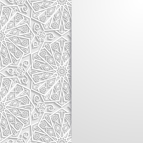 Paper cut flowers white ornaments vector
