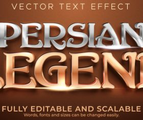 Persian legend editable font 3d vector