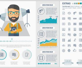 Photo studio infographic elements vector