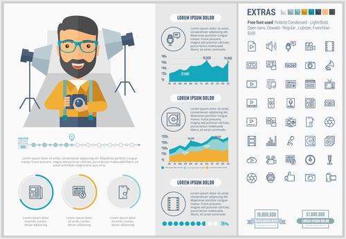 Photo studio infographic elements vector