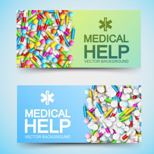 Pill banner advertising vector