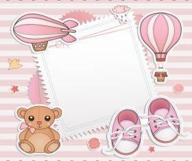 Pink baby shower invitation cards vector