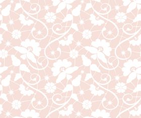 Pink background white floral pattern vector