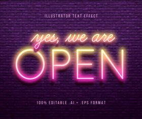Pink bright 3d font editable text style effect vector