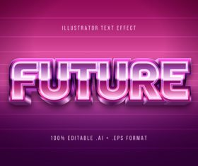 Pink gradient 3d font editable text style effect vector