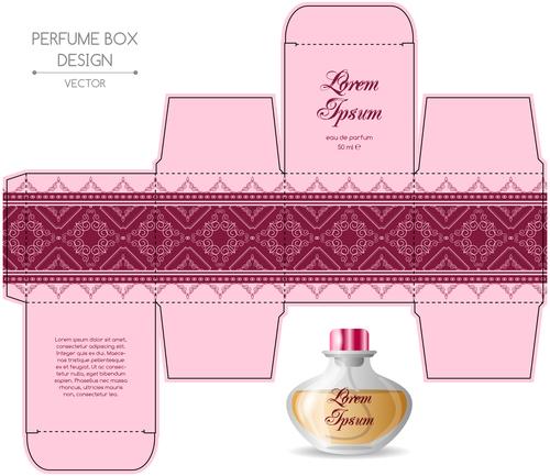 Pink packaging for perfumery in vector