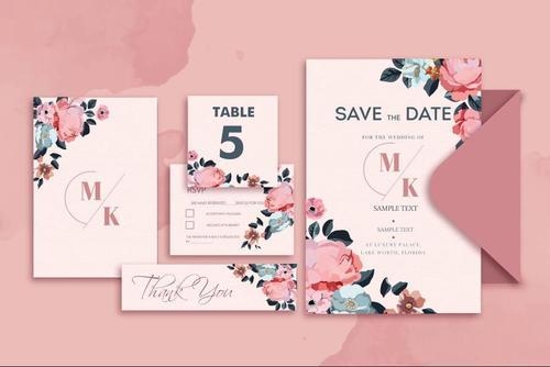 Pink wedding invitation card design vector