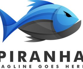 Piranha gradient logo vector