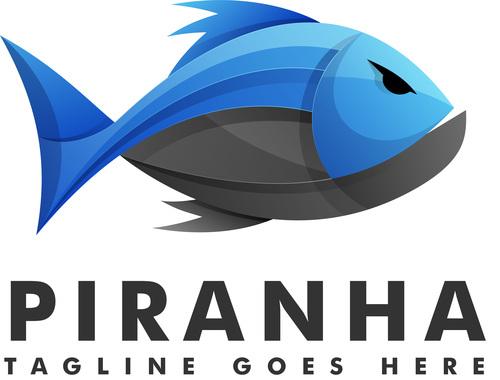 Piranha gradient logo vector