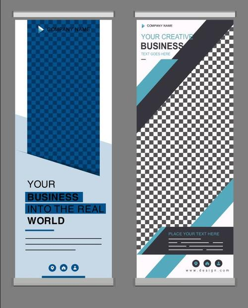 Plaid background business standee banner vector