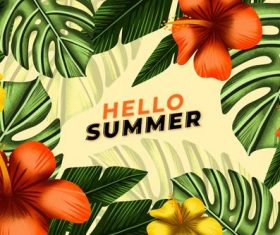 Plant background summer card vector