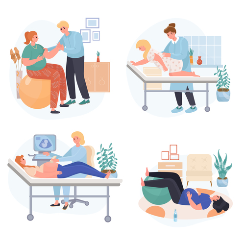 Pregnancy concept scenes vector
