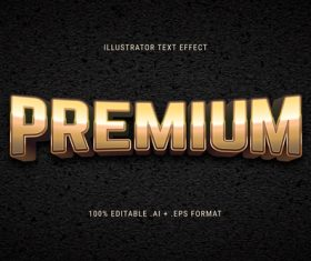 Premium 3d font editable text style effect vector