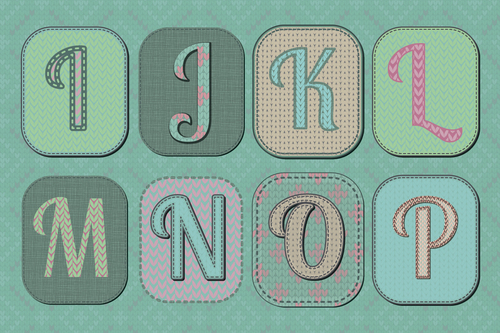 Pretty knitted alphabet patterns vector