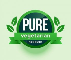 Pure vegetarian product green leaves label vector