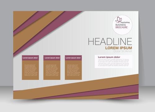 Purple and beige business brochure vector