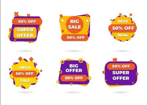 Purple and yellow discount sticker vector
