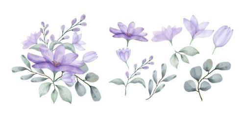 Purple flowers and leaves watercolors vector