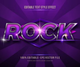 Purple rock editable font 3d vector