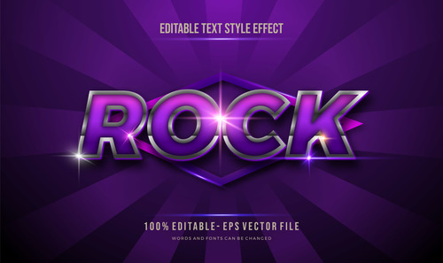 Purple rock editable font 3d vector