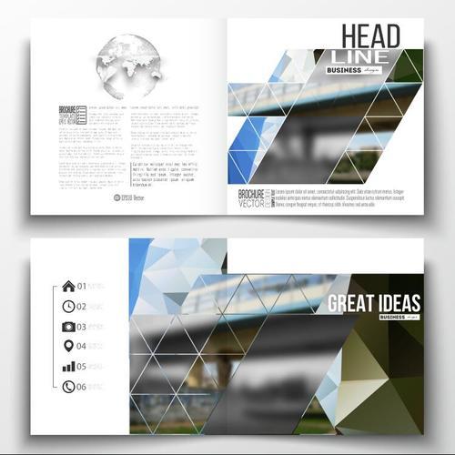 Railway transportation background business brochure template vector