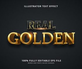 Real golden 3d font editable text style effect vector