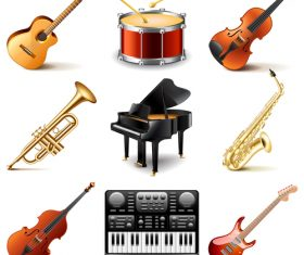 Realistic musical instrument icon vector