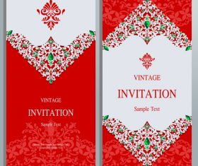 Red background invitation card vector