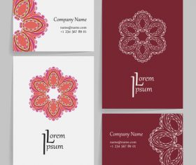 Red pattern company business card vector
