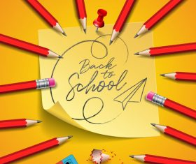 Red pencil background back to school vector