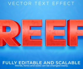 Reef 3d editable text style effect vector