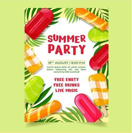Refreshing summer party card vector