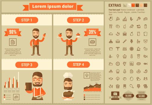 Restaurant infographic elements vector